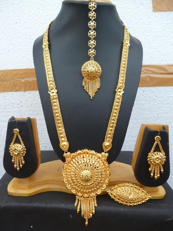 1b8f7c71e875f5 22K Gold Plated Indian 12'' Long Necklace Earrings Tikka Ring Adjustable  Chain Bridal Wedding Set