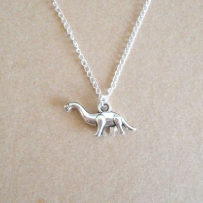 Lune silver dinosaur necklace