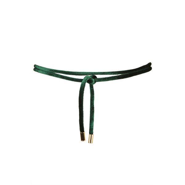 TOPSHOP PU Belt (91 ARS) ❤ liked on Polyvore featuring accessories, belts, green, green belt, tie belt, topshop belts and velvet belt