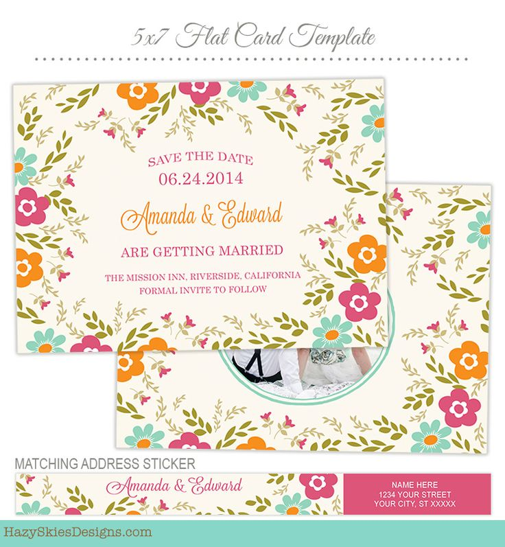 Save The Date Card Photoshop Template For Photographers #save The Date # Template #photoshop  Engagement Card Template