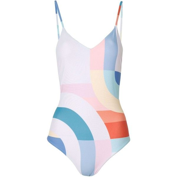 Mara Hoffman Classic One Piece Meridian (415 BRL) ❤ liked on Polyvore featuring swimwear, one-piece swimsuits, swimsuits, bathing suits, swim, one piece swim suit, slimming swimsuits, one-piece swimwear, slimming bathing suits and white one piece bathing suit