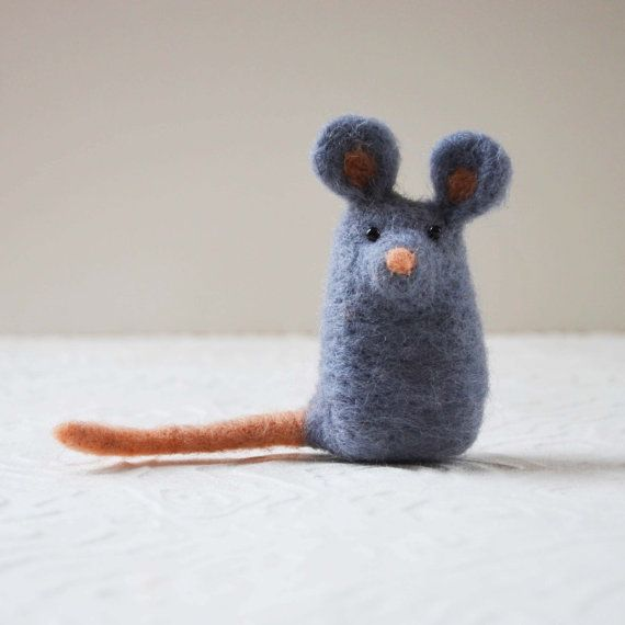 Mousekitts needle felted animal fiber sculpture by TCMfeltDesigns, $24.00