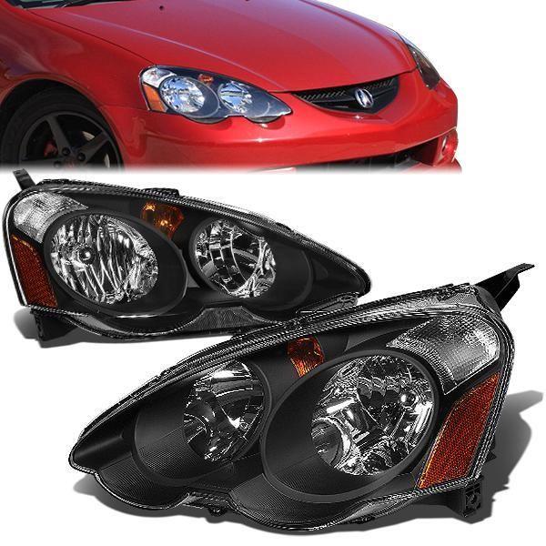 02 04 Acura Rsx Headlights Black Housing Amber Corner Acura Rsx Acura Headlights