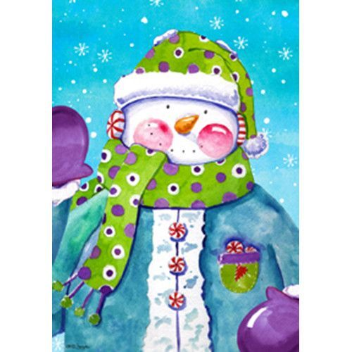 Polka Dot Snowman Winter House Flag