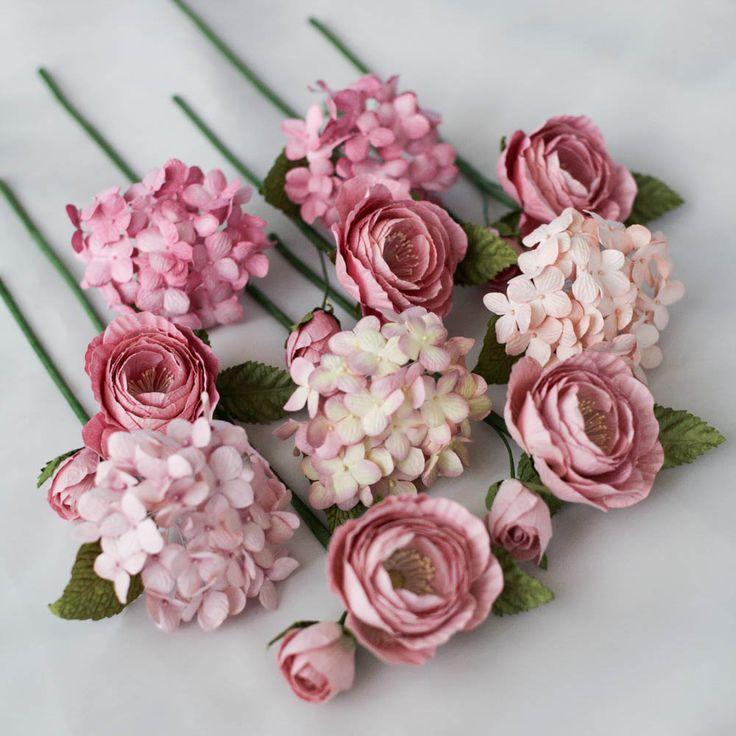 Mini Paper Flower Decoration Set Pink Bloom   Posie Flowers