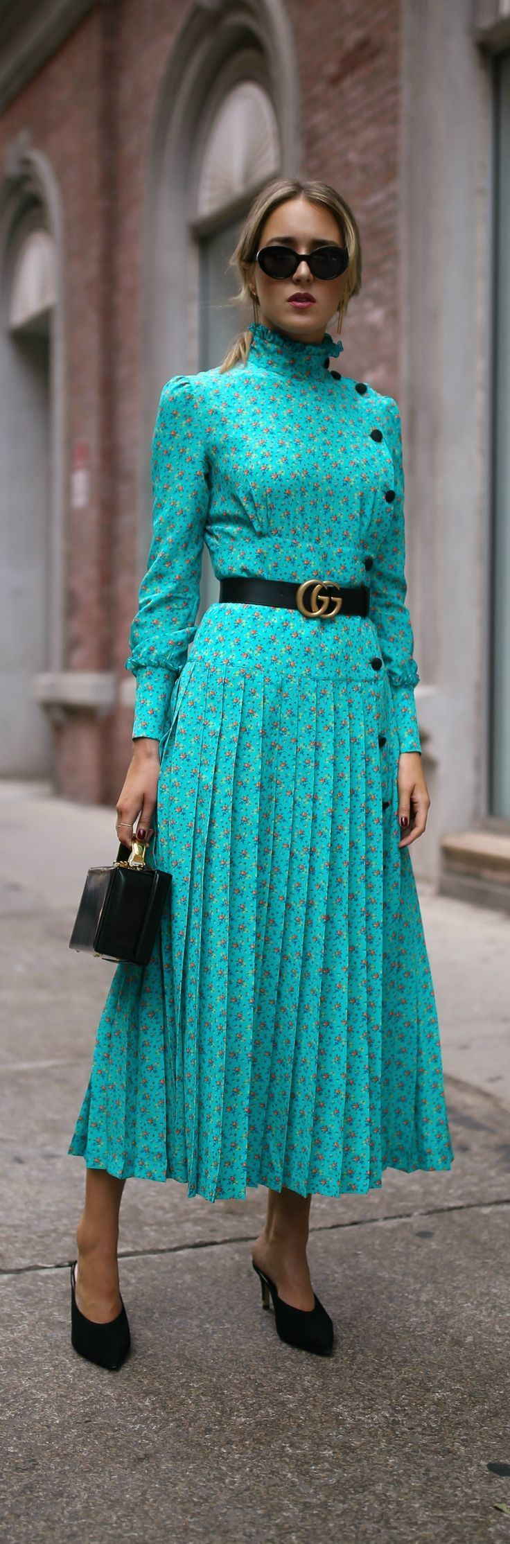 Click for outfit details! // Turquoise floral victorian pleated maxi dress, black slide pumps, small black box bag, leather belt, black sunglasses {Alessandra Rich, Mark Cross, Gucci, New York Fashion Week, NYFW}