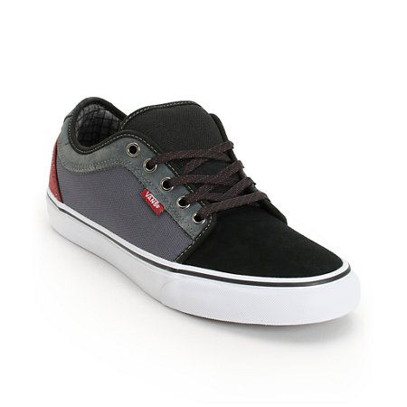Stop worrying about your shoes so you can focus on skating by grabbing the supremely durable Vans Chukka low black, dark grey, and burgundy skate shoes. These guys low profile skate shoes feature a black suede upper with dark grey canvas sidewalls, vulcanized white rubber outsole with black foxing for better board control and flexibility, Vans waffle tread bottom sole in for superior grip, padded collar and tongue, custom checkered print inner lining, drop-in PU midsole and Vans UltaCush HD…