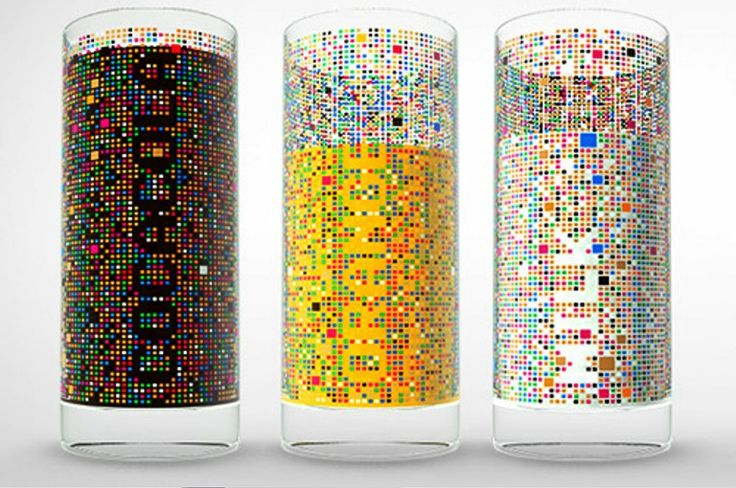 An empty glass resembles a meaningless colorful mosaic, until a liquid is poured into it, revealing its name. Each side of the glass is reserved for a specific drink.