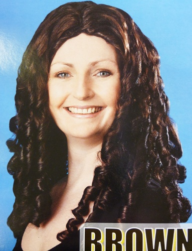 £8.54 paid  SPIRAL CURLY BROWN WIG 16 LONG FANCY DRESS | eBay