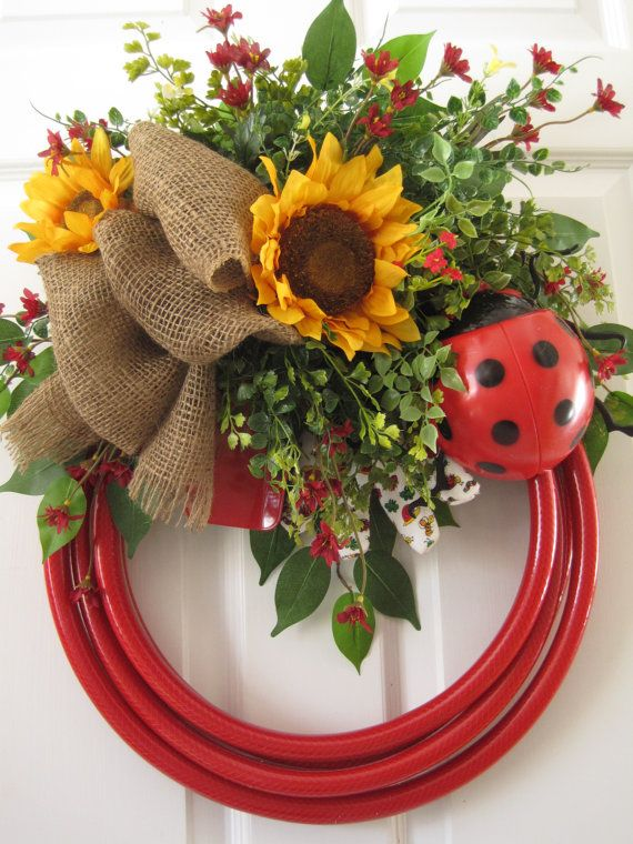 Red Garden Hose Wreath FREE SHIPPING Ladybug by FunFlorals on Etsy