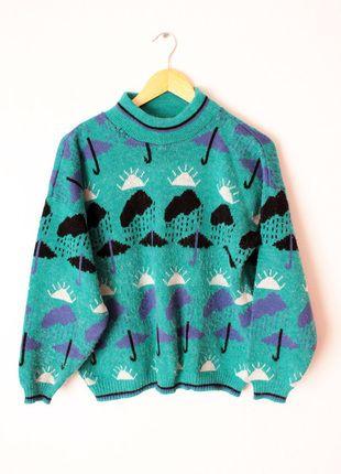 Kup mój przedmiot na #vintedpl http://www.vinted.pl/damska-odziez/bluzy-i-swetry-inne/12605273-zielony-sweter-domino-piekny-wzorek-l-jak-hm