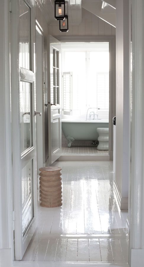 gloss white painted plank floors