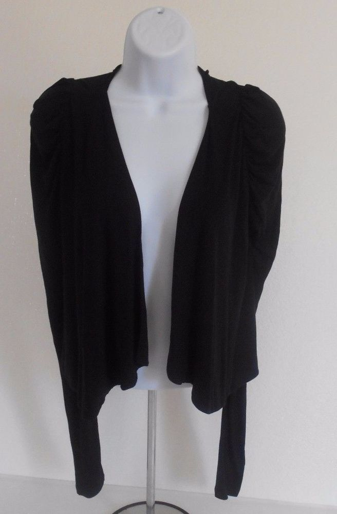 Black Cover Up Lightweight Open Front Jacket Long Sleeve Sz 4 Very Soft! #HM #CoverUp #Casual