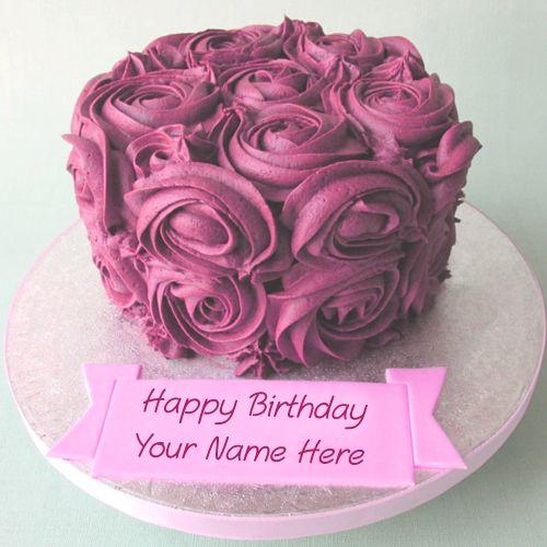 Write Name Happy Birthday Flowers Cake Photo Edit Online