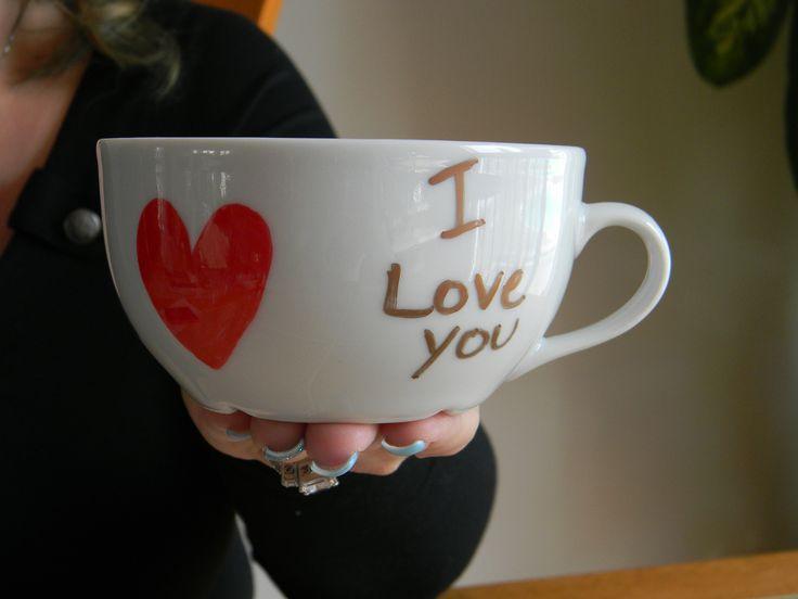 "Coffee cup, ""#1 Mom, I love you"", handmade. 5$ at www.nancy-cie.com"