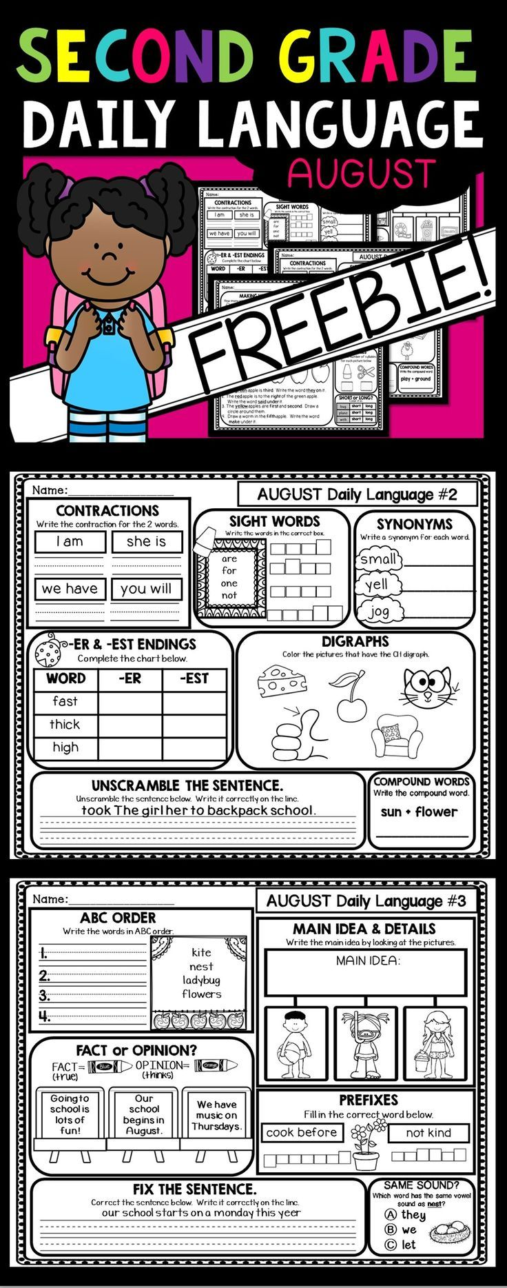 FREEBIE!  10 pages of Daily Language for 2nd  Grade