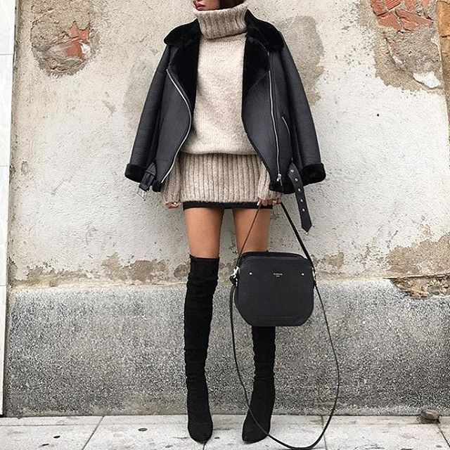When the sun comes out in the winter so do the thigh high boots and mini skirt! Even though it's a little chilly pair the skirt with a chunky turtle neck and moto jacket to add some much needed warmth!