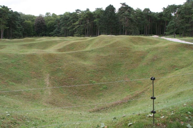 Preserved area of trenches and craters from WWI