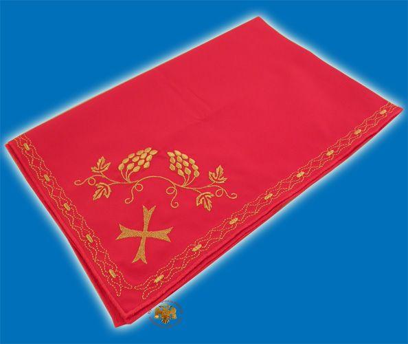 Maktro Holy Communion Divine Liturgy Purificator Burgandry Cotton Cloth with Gold Thread Details Design I