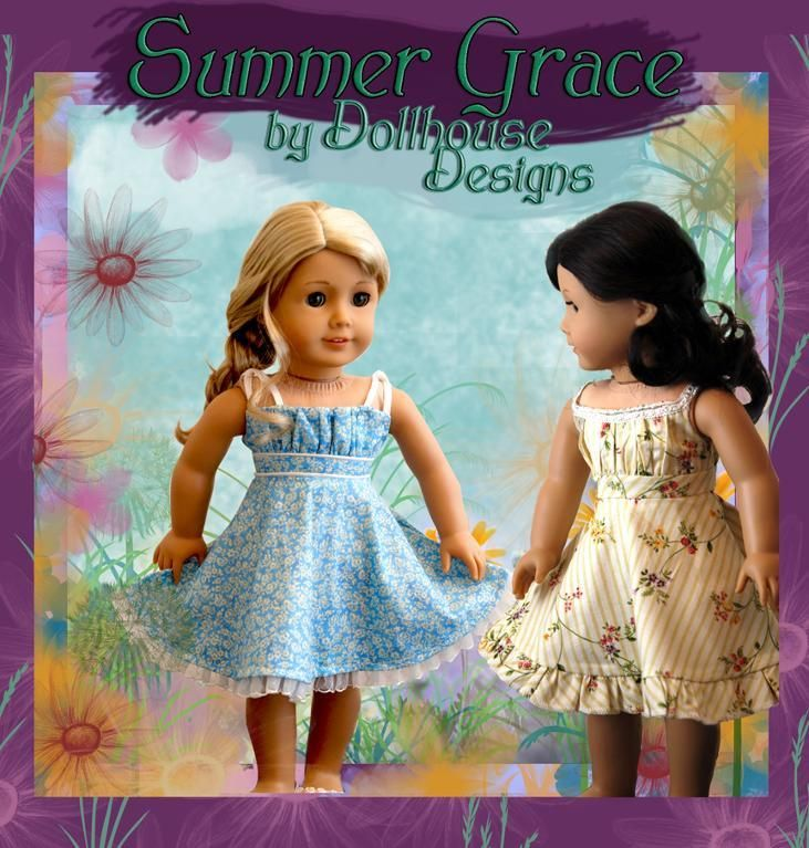 Summer Grace Sundress by Dollhouse Designs -Download the Sewing Pattern at Craftsy  #americangirldollpattern American Girl Doll Pattern @Craftsy