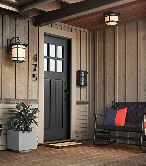 Love the use of black - and the varying materials and textures of this porch ... Rejuvenation: Outdoor Ambiance