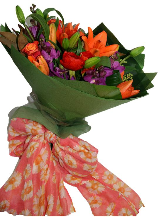 Fresh flower bouquet wrapped in a beautiful light weight floral scarf. https://bloominboxes.com.au/floral-scarf-bouquet