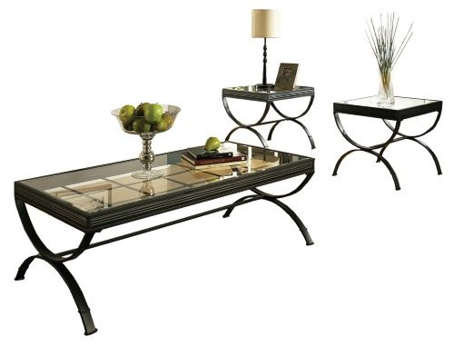 Steve Silver Emerson Rectangle Glass Top 3-Piece Coffee Table Set - Black - Coffee Table Sets at Hayneedle