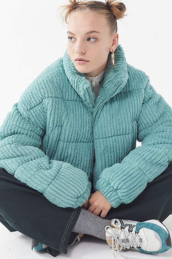 835b207c41 UO Fluffy Corduroy Puffer Coat in 2019 | Products | Puffer jackets ...