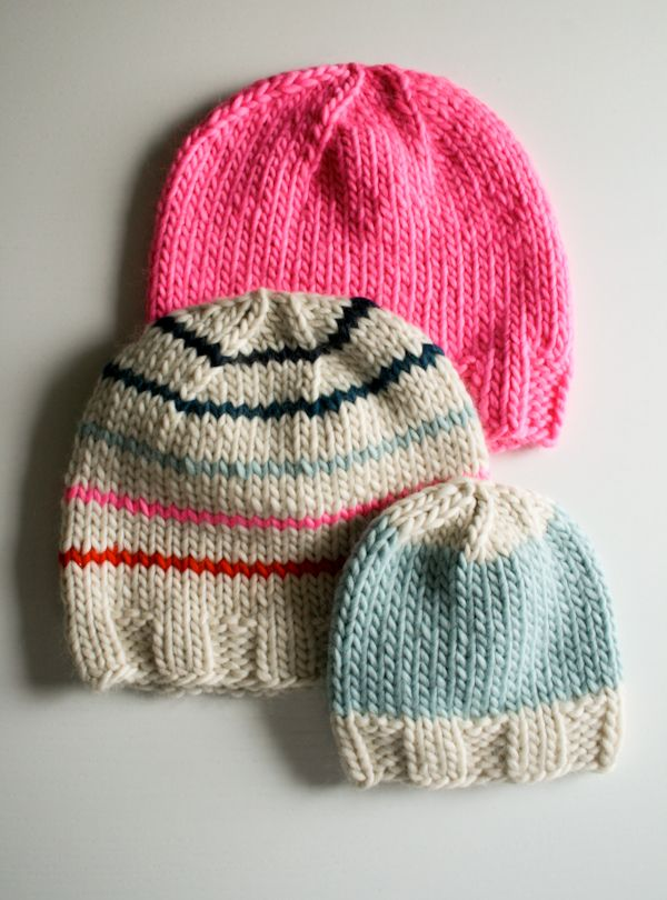 To do with needles... Whit's Knits: Super Soft Merino Hats for Everyone! - The Purl Bee - Knitting Crochet Sewing Embroidery Crafts Patterns and Ideas!