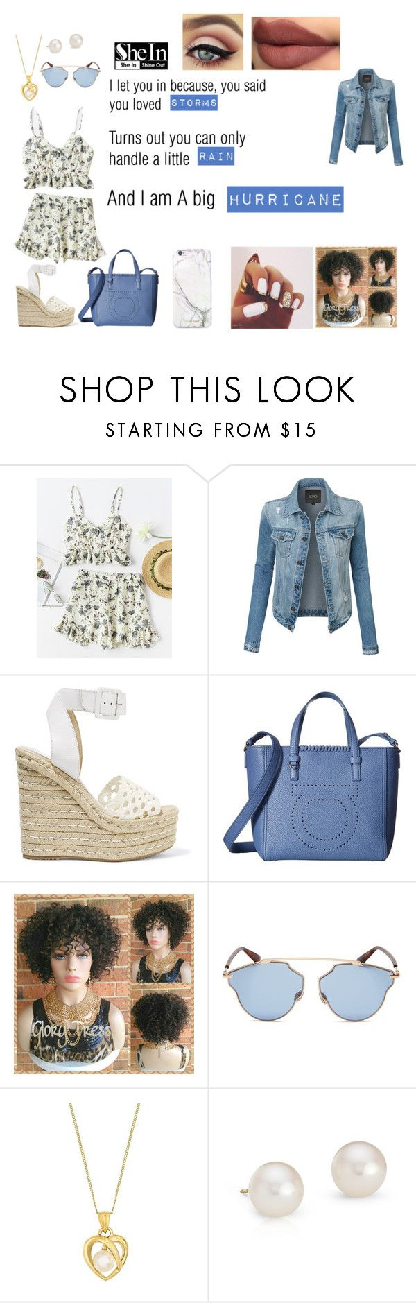 """""""Storms, Rain, And A Hurricane"""" by mistress-sapphire ❤ liked on Polyvore featuring LE3NO, Paloma Barceló, Salvatore Ferragamo, Christian Dior, Blue Nile and russell+hazel"""