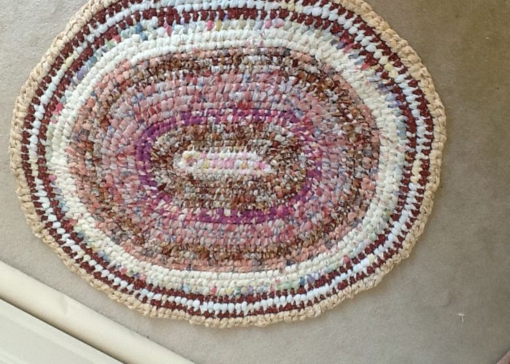 This is my first rug.  Made from 4 very worn out skirts, one pillowcase, a nightdress and a bit of old curtain material.