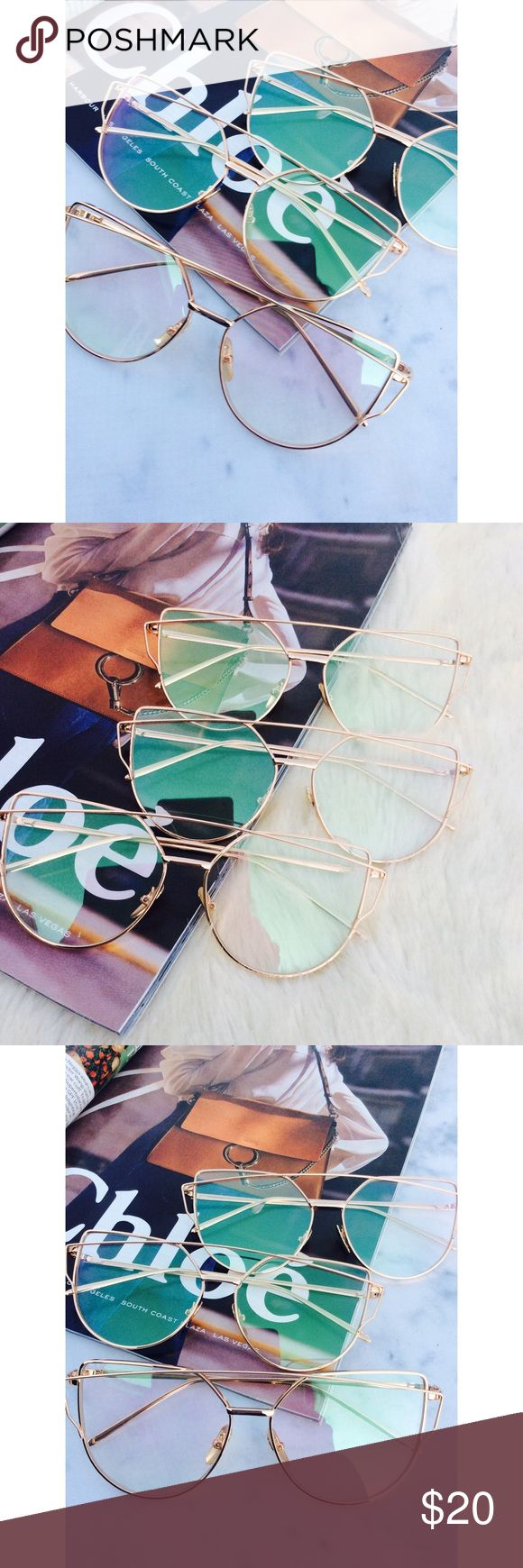 New Arrival-Aviator Sunglasses, Cat Eye Sunglasses Clear Cat Eye Aviator Sunglasses. This listing is for a pair of Cat Eye aviator sunshades. Retro Sunglasses. Wire sunglasses. Trending sunglasses. UV protection. Gold frames. Top quality! Brand new! Bundle and save!                                                                       ✨1 for $20, 2 for $30, 3 for $40✨ тнαик уσυ💕 Accessories Glasses