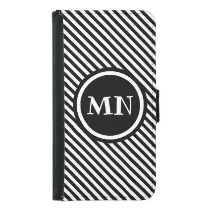 Stripes pattern monogram wallet phone case for samsung galaxy s5 - monogram gifts unique custom diy personalize