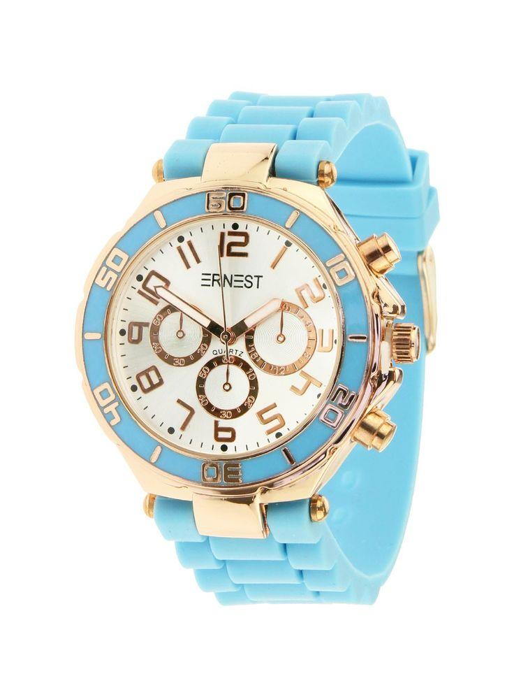 Ernest Horloge Rose Goud - Fel Blauwis een prachtig rose gouden horloge met een fel blauwe kunststoffen band en een zilveren wijzerplaat.Let op!Nabestellen voor 14:00 uur duurt twee werkdagen, anders heb je het horloge binnen drie werkdagen.