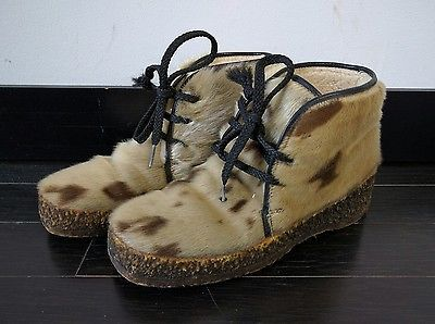 Ladies Vintage Pajar Fur Mukluks 8.5 Lace Up Boots Sheep Wool Lined Eskimo