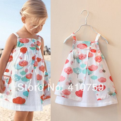 New 2014 Baby Toddler Girl Fantasy Flower Dress Brand Children Summer Clothing Print Princess Casual Cotton Spaghetti Clothes