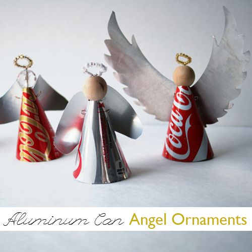 Make Recycled Aluminum Can Angel Ornaments ChristmasDecor Upcycle @savedbyloves