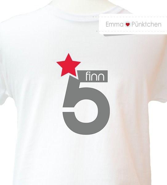 Geburtstagsshirt für coole kids ⭐ von Emma & Pünktchen auf DaWanda.com