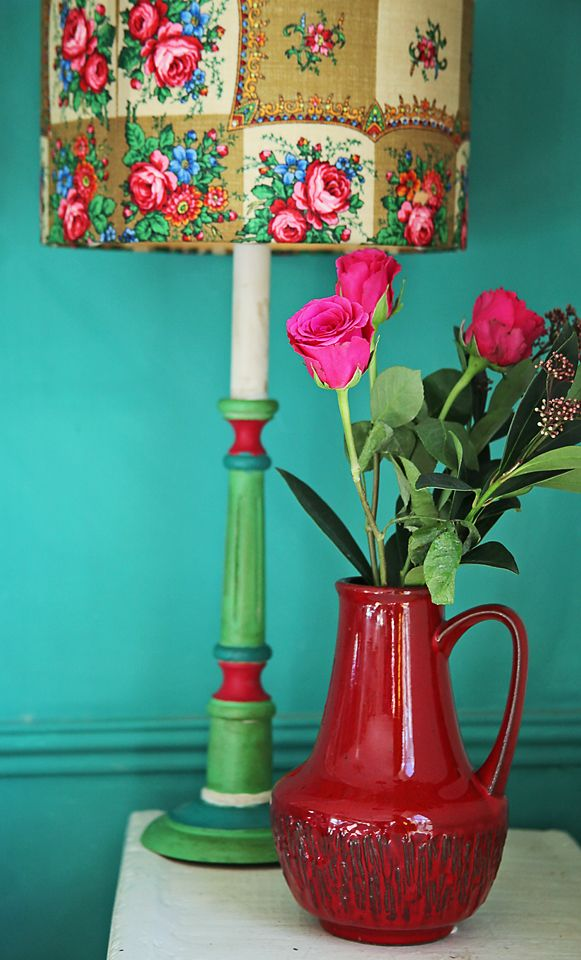Patchwork lamp. Florence chalk paint by Annie Sloan retro folk and colour