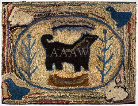 Colorful folky hooked rug.  Dimensions: 30.25 by 39.75-inches.  $ 2,875.00