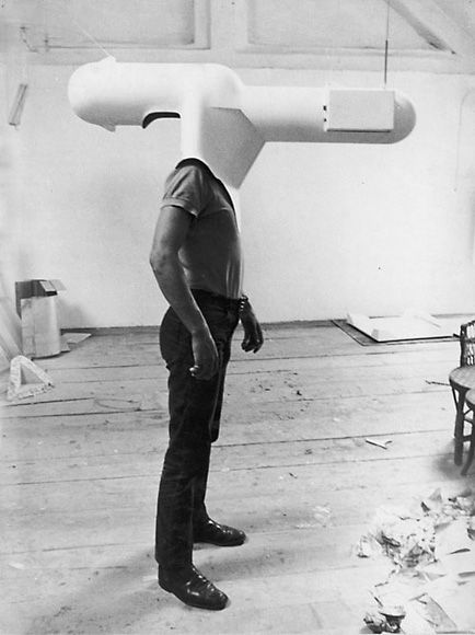 """1967 - Walter Pichler invents the portable television helmet as part of his """"furniture as an extension of the body"""" series.  Pichler's visions of utopian design obviously included phallic headwear."""