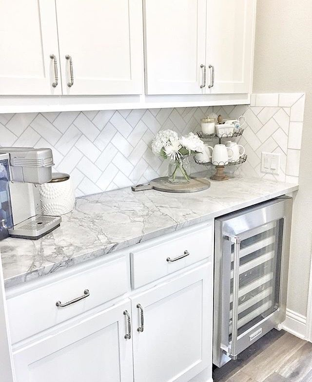 Coffee Wine Tea Station Small Butlers Pantry With Herringbone Backsplash Tile And White Quartzite Countertop