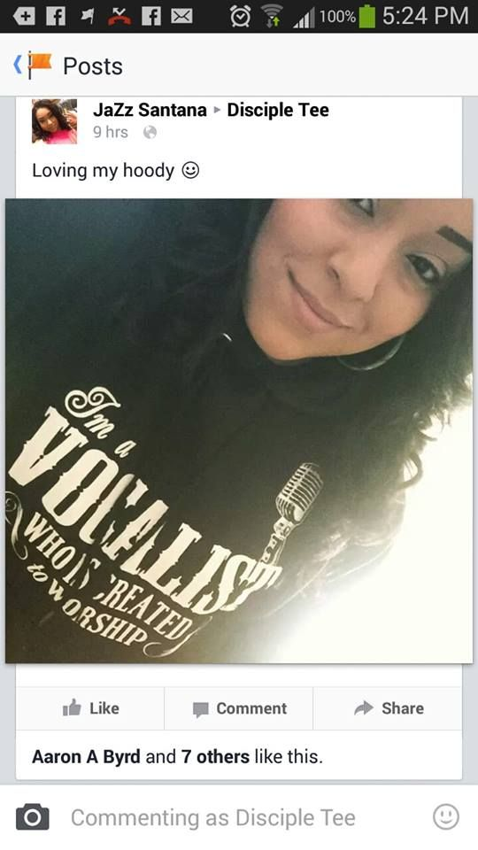 Thanks Jazz for sharing your awesome pic with us. If you haven't gotten yours get it here. Http://discipletee.com/store
