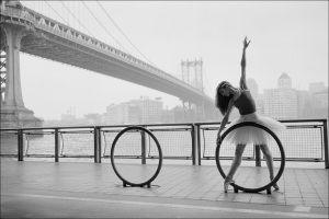 Ballerina in the fog.  Dancing under the bridge.
