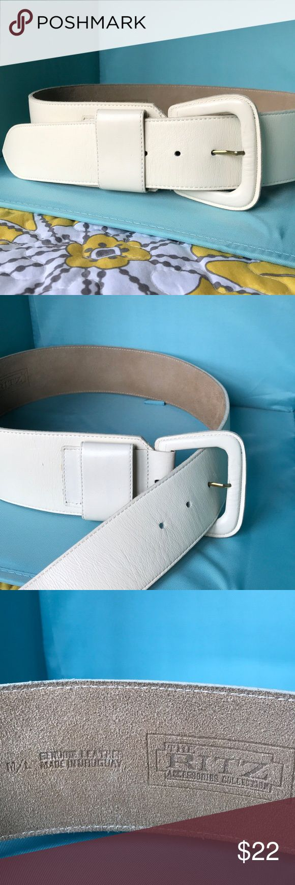 Vintage leather, cream color, women's belt Vintage wide cream belt, great condition, perfect for vintage skirt, dress or pant. Measures 39 inches in length. Accessories Belts
