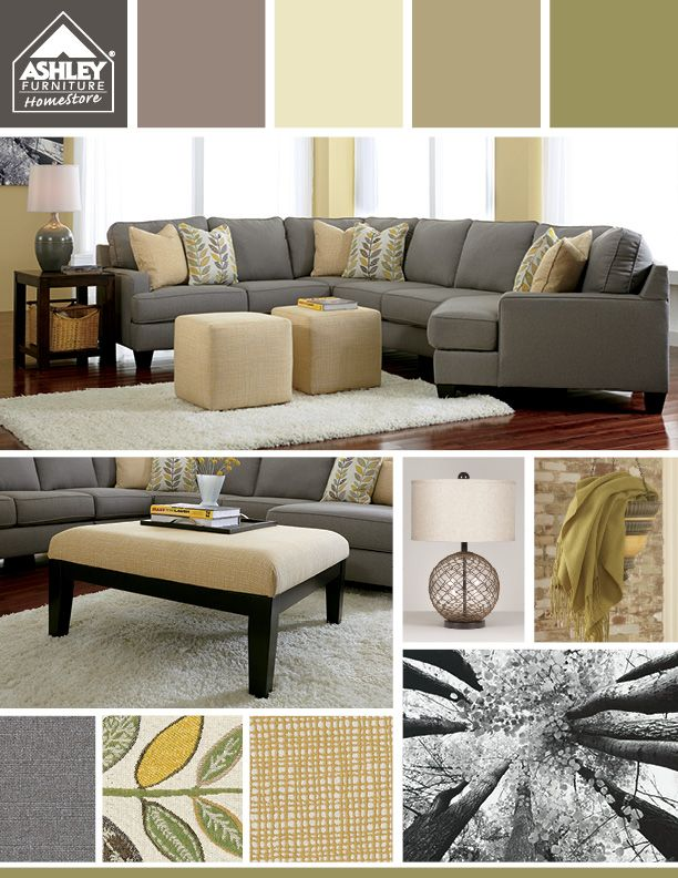 Love the grays with the greens/light yellows - And the sectional has a cuddler!