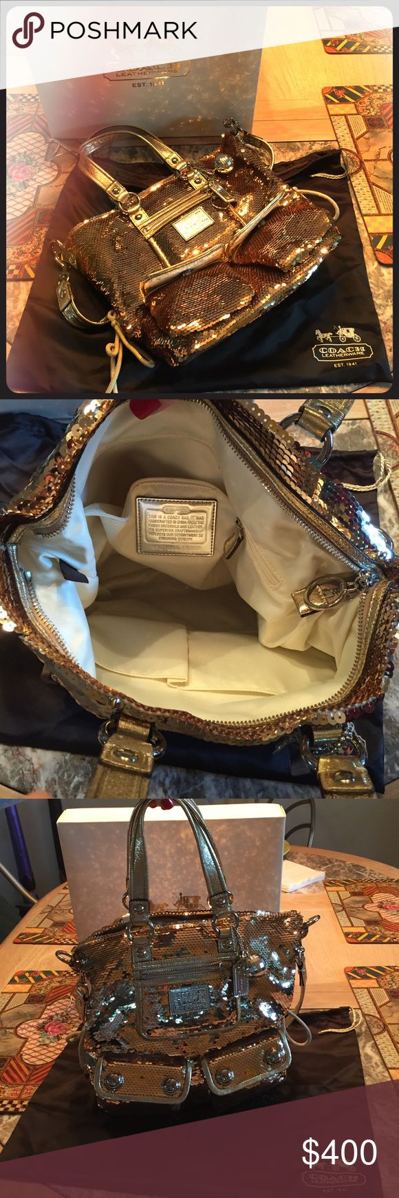 Coach Poppy Spotlight Gold Sequin Purse Coach Sequin Poppy Gold Sequin Purse. NWOT- Never Used. It has been in the original purse bag and box since I've bought it.  It is an amazing bag to dress up jeans and a solid top. Coach Bags Satchels