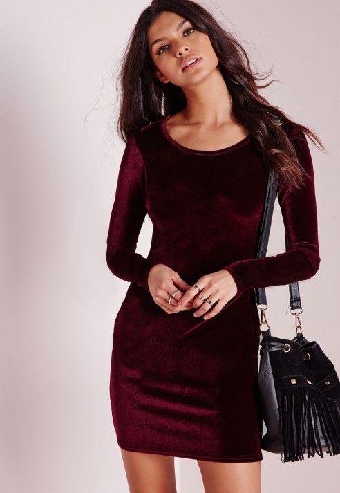 Long Sleeve Velvet Bodycon Dress Oxblood - Dresses - Bodycon Dresses - Missguided