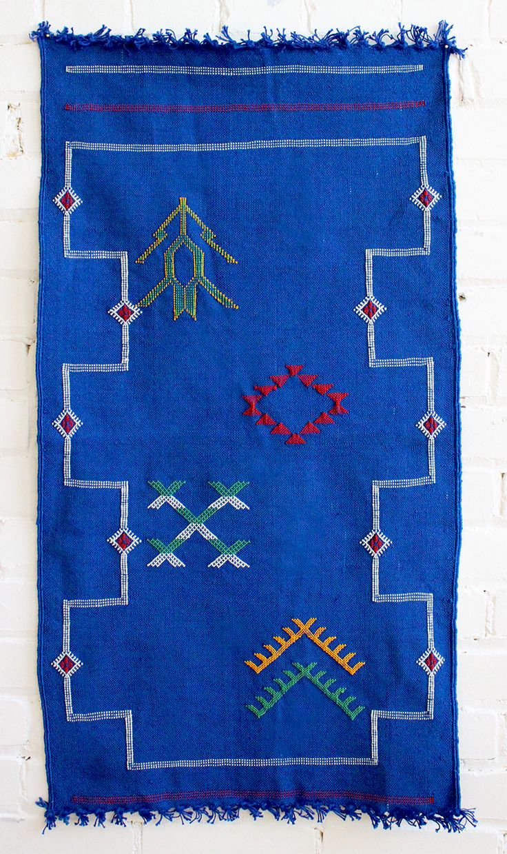 "Blue Kilim Area Rug, Silk – Small, 3′ x 1'7"". From Baba Souk"