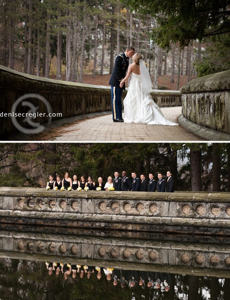 Newly and wedding party at the West Point Reservoir
